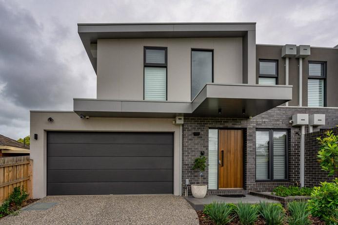 Insulated Sectional Garage Door, Fineline Woodland Grey